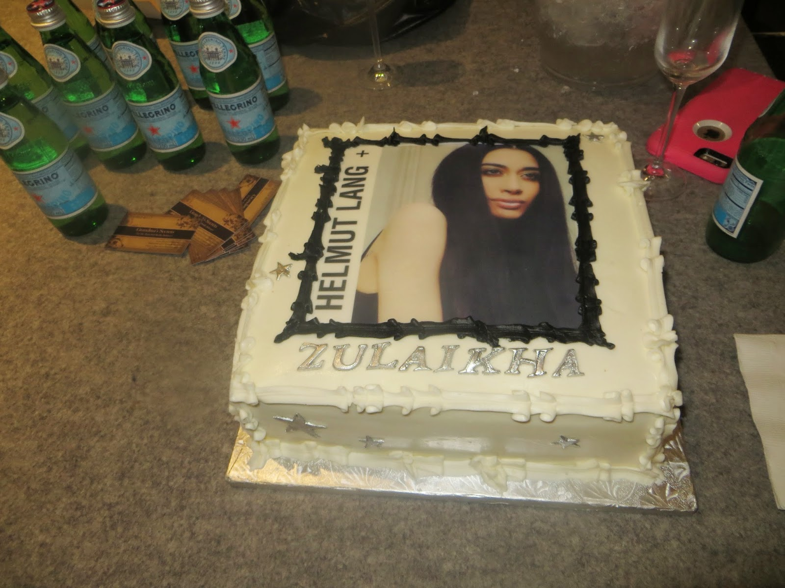 Custom Farah Zulaikha and Helmut Lang vanilla buttercream cake by Regina McRae of Grandma's Secrets NYC.