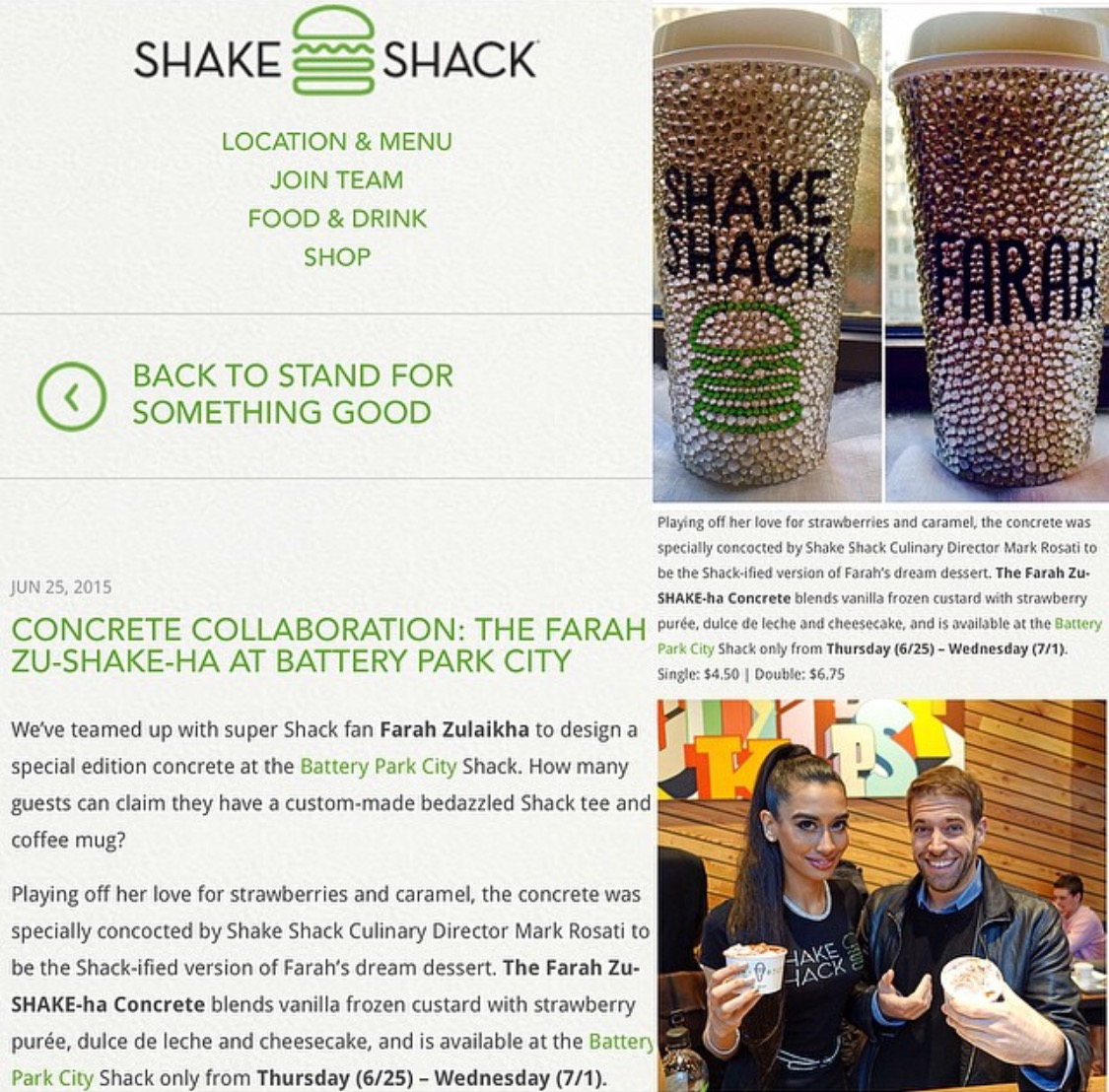 On the Shake Shack Official Website! Exclusively on www.shakeshack.com the Farah Zu-SHAKE-Ha Concrete!