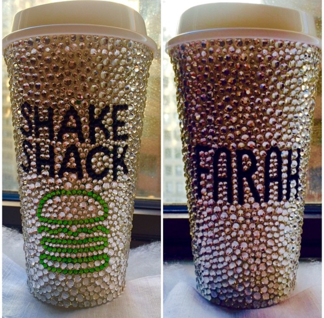 ALL THAT GLITTERS IS FARAH AT SHAKE SHACK! My mesmerizing and sparkly Swarovski crystal encrusted custom Shake Shack cup made by artist Justina Penrod!