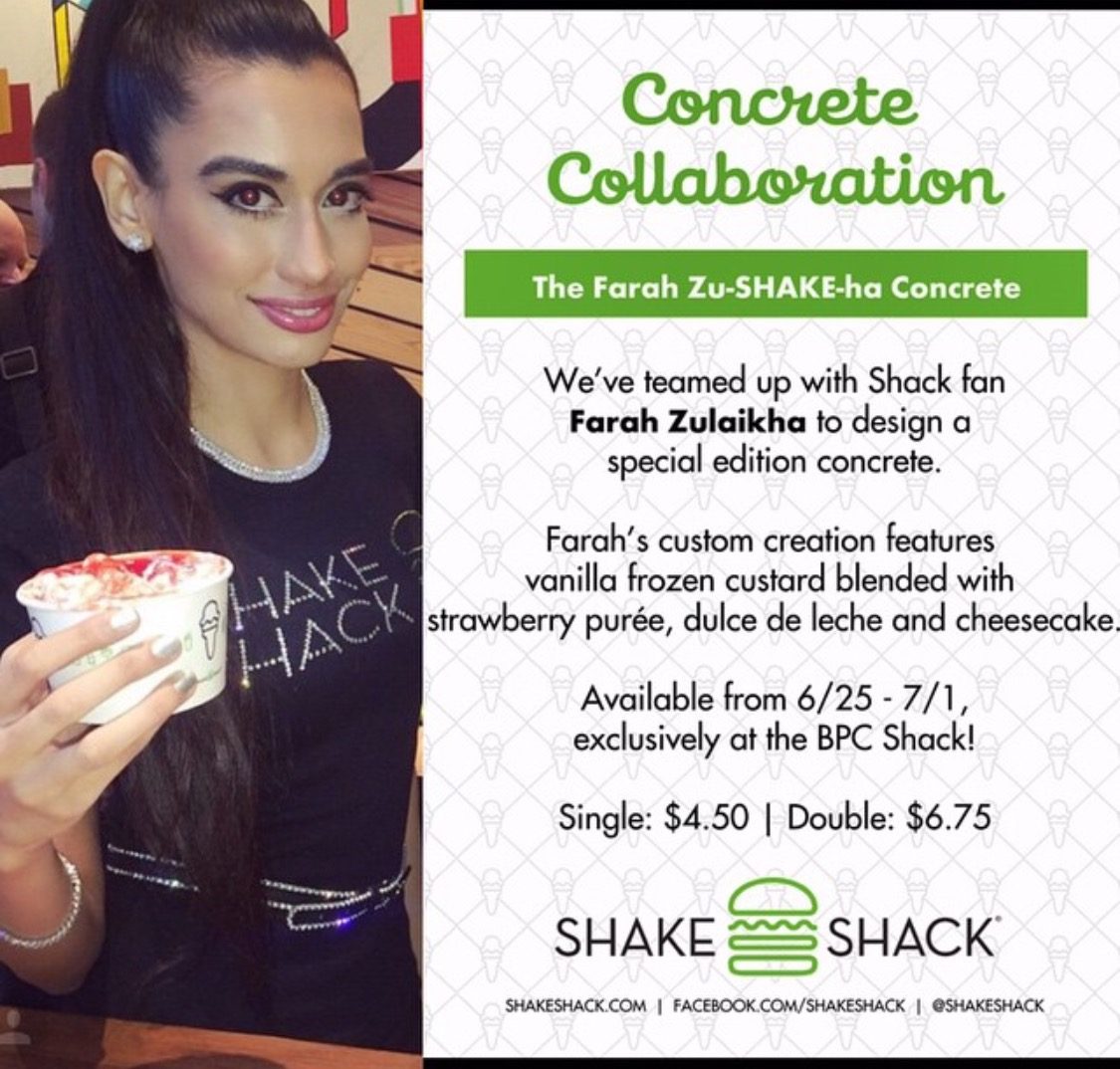 IT'S FINALLY HERE! The Farah Zu-SHAKE-Ha Concrete at Shake Shack! Check out the mouth-watering ingredients, courtesy of Culinary Director and Celebrity Chef Mark Rosati!