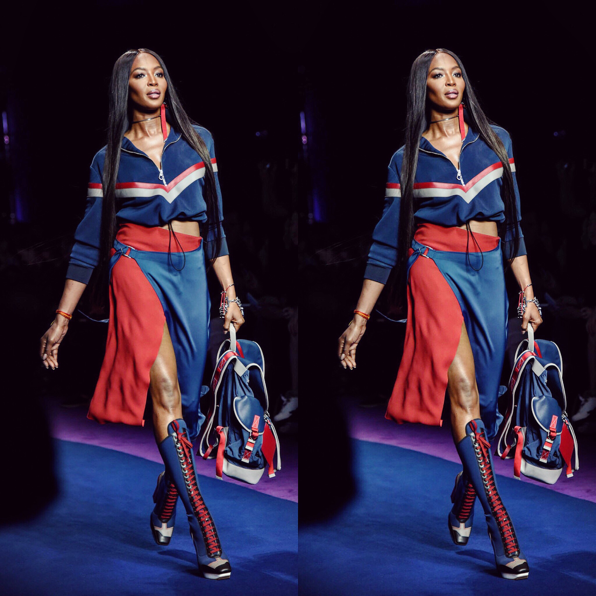 Queen Naomi slaying everyone's existence including mine!!! How exciting to appear for the same brand & step on the same runway as her HIGHNESS/arguably the greatest model of all time! LOVE YOU NAOMI! (Photo credit: Gabriela Di Muro) 😍😘🙏🏼👸🏾