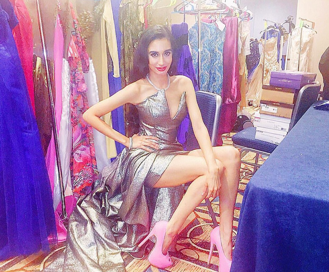 Backstage in my custom silver Andres Aquino gown, before the runway at Couture Fashion Week NYC!