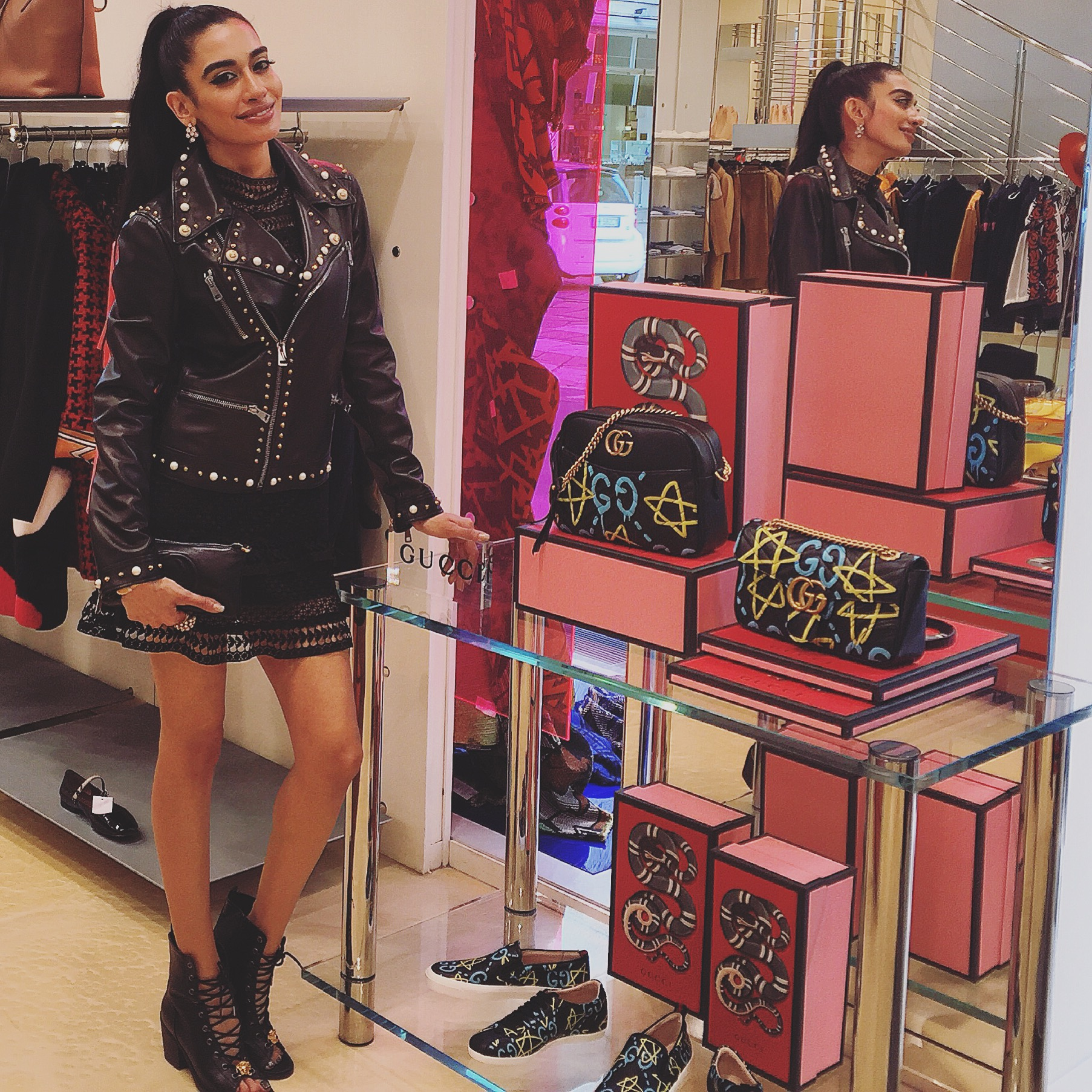 Farah Zulaikha in brand-new limited edition Gucci GG studded leather jacket and bag posing with the new Gucci collection dressed exclusively by BIFFI for a very special in-store appearance today! CIAO BIFFI, GRAZIE MILLE! 🌹