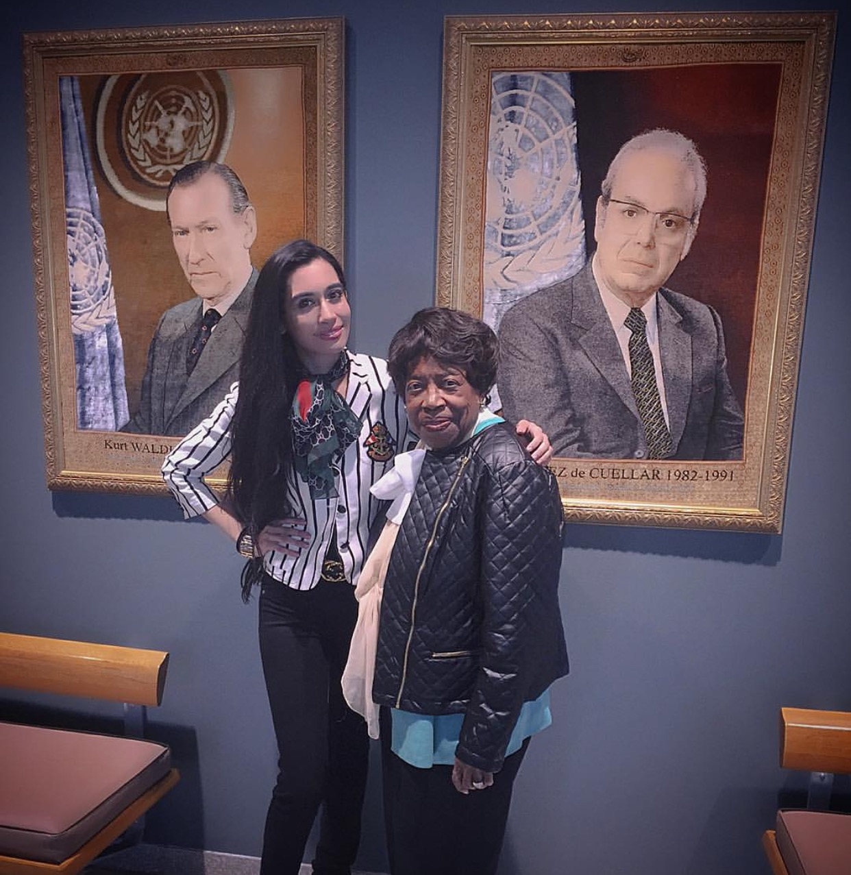 In The Hall Of Secretary Generals at The United Nations Headquarters in New York City, with newly retired NCWUS President the beautiful Mary E. Singletary. This hall contains the portrait of every sitting Secretary General in history including notables such as Boutros Boutros Ghali and Ban Ki-Moon.