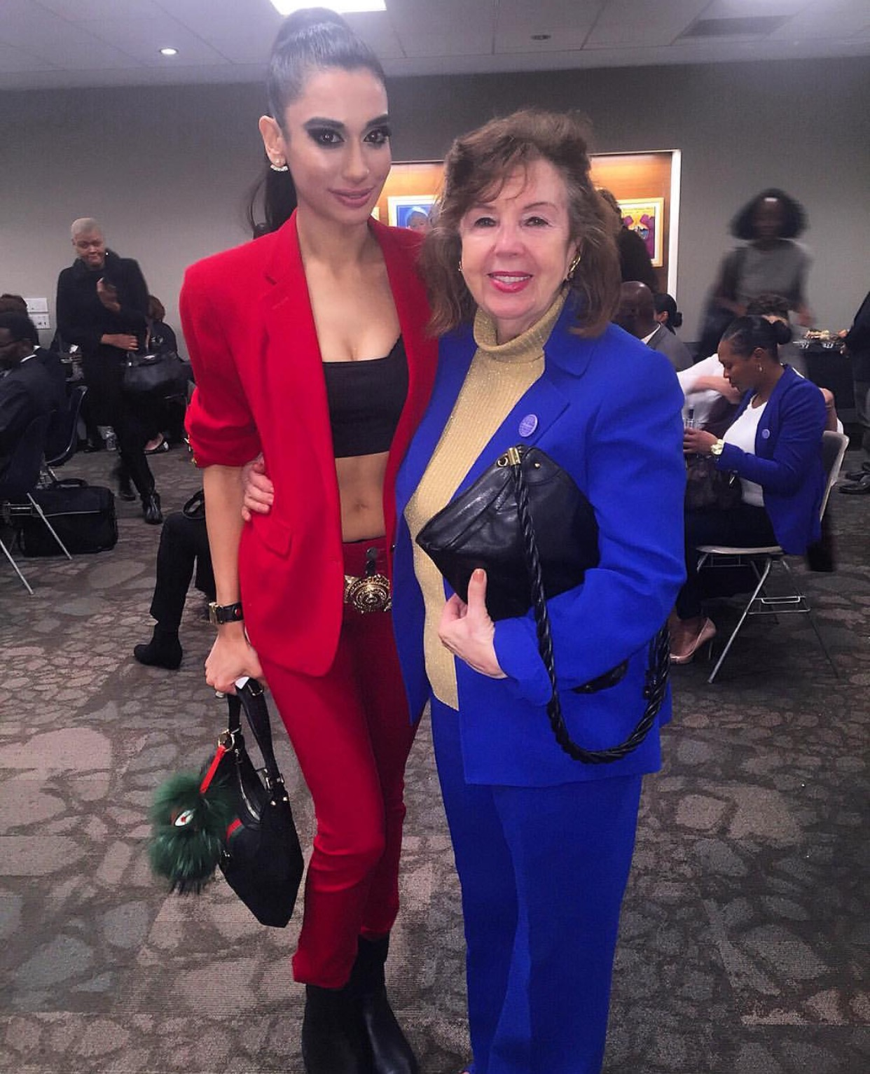 KEEPING IT CUTE AT THE UNITED NATIONS! In our American flag colors pictured with a former chapter President at the National Council Of Women Of The United States 2016 Friends & Family Reception at the United Nations! As NCWUS Ambassador At The United Nations, I am HONORED to serve amongst so many amazing individuals making history for those in need! 😇 STYLE NOTES: Suit by RALPH LAUREN; bag, runway baroque belt and embossed leather boots by GUCCI; my beauty look brought to you exclusively by Giorgio Armani Beauty!